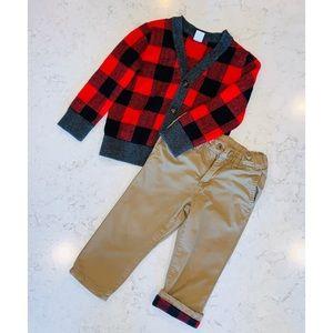 GAP Kids Buffalo Plaid Cardigan & Khaki Pants